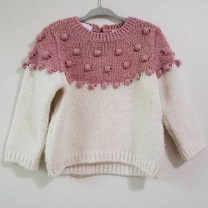 Zara Knit Pom Pom Long Sleeve Crew Neck Sweater